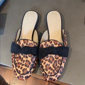 Leopard slides with black bow